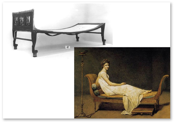 The Egyptian bed, or couch (above), became the inspiration for the chaise longue (below) as it flourished after the real discovery of Pompeii and its sister city, Herculaneum, in 1738. The carved legs of the Egyptian couch represent the fore and hind legs of a lion, which face towards the head of the bed; the extending panel serves as the footboard.