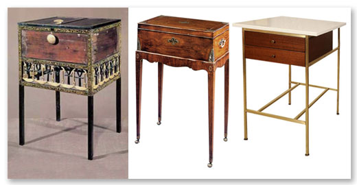 The form of this Egyptian boudoir chest (left) which was used to store toiletries and jewelery, could be the forerunner of any number of 18th Century English box on stands (center) or a Paul McCobb chest on stand circa 1950 (right).