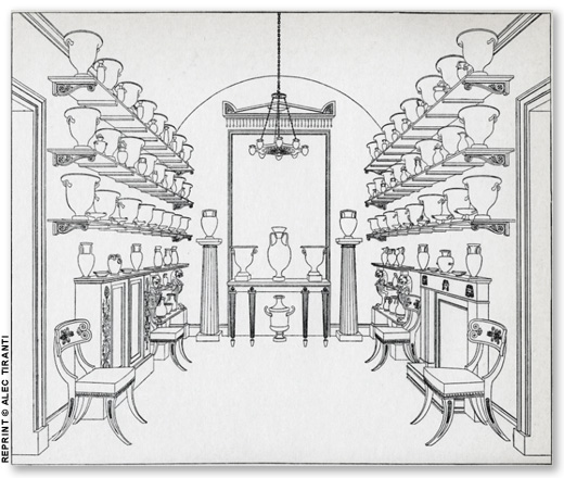 Hope's drawing of his Urn room with one of his klismos designs prominently displayed.
