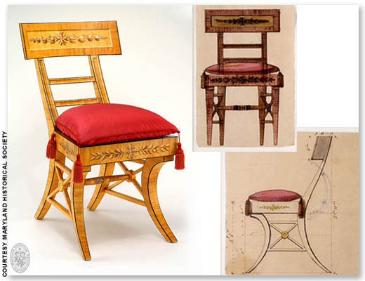 Latrobe klismos chair for Dolley Madison